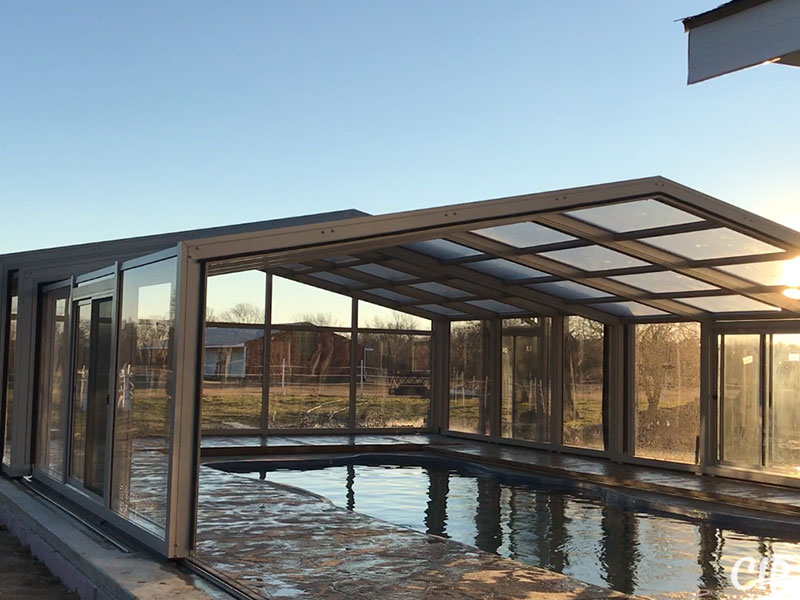Retractable Pool Enclosure partially open Australia